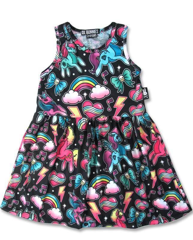 Six Bunnies Girls 2 10yrs Unicorn Pony Rainbow Dress Rockabilly Tattoo Party | eBay