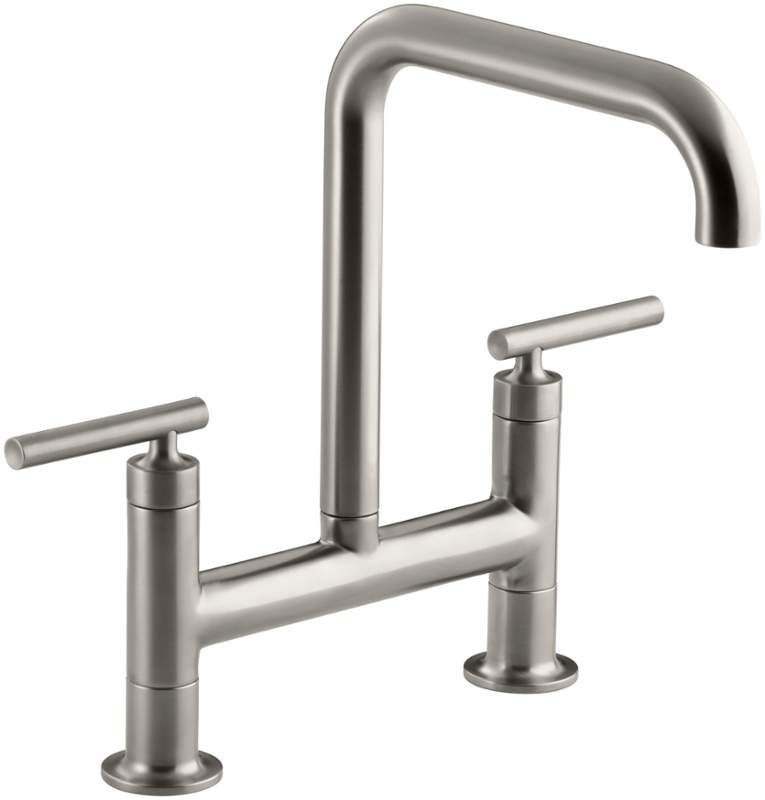 Kohler K-7547-4 Purist Double Handle Bridge Kitchen Faucet with ...