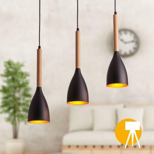 Moderne Deckenleuchte Esszimmer Buche Schwarz Lampe Pendelleuchte