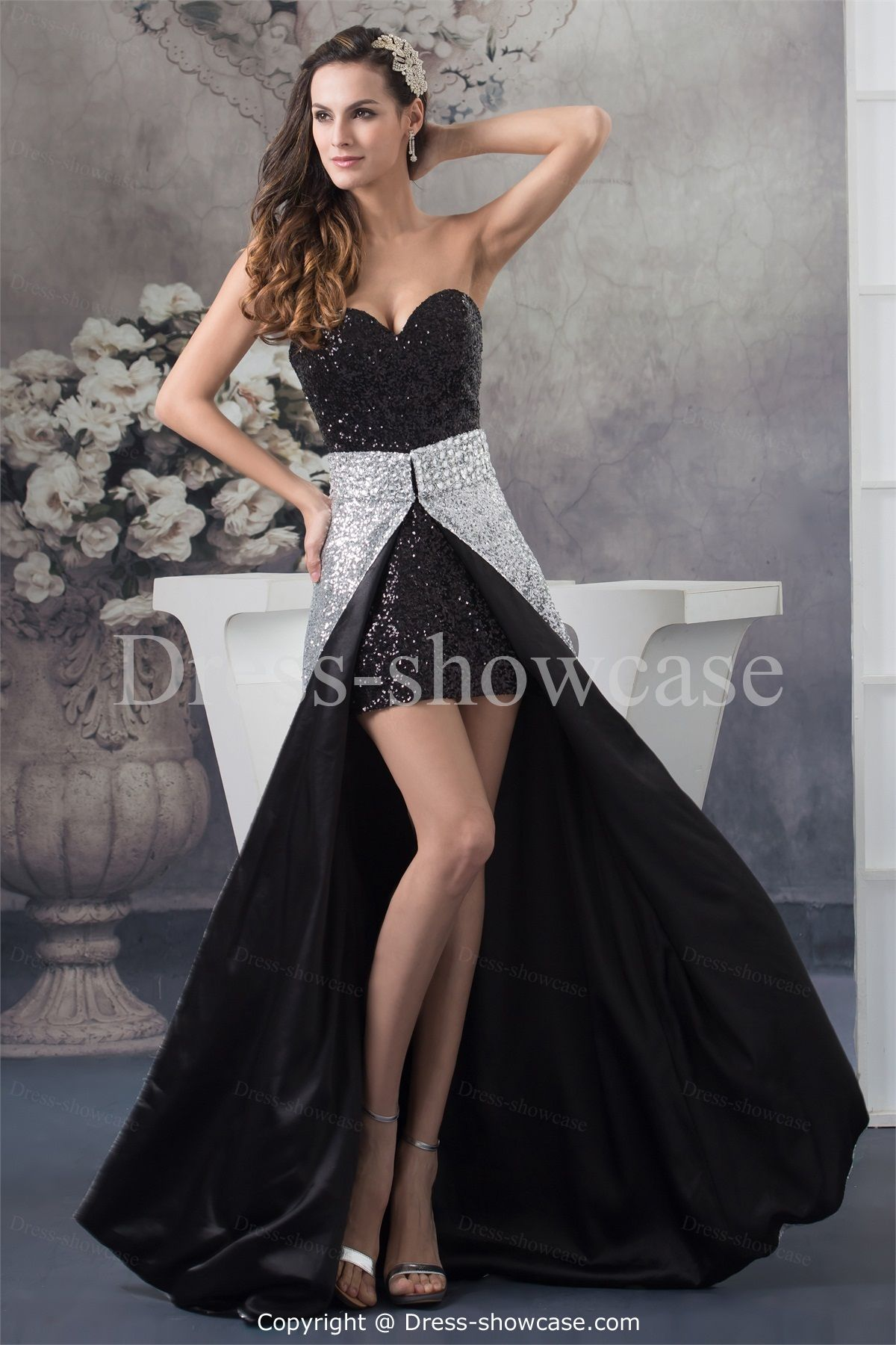 Occasion dresses black silver holiday elastic woven satin prom dress