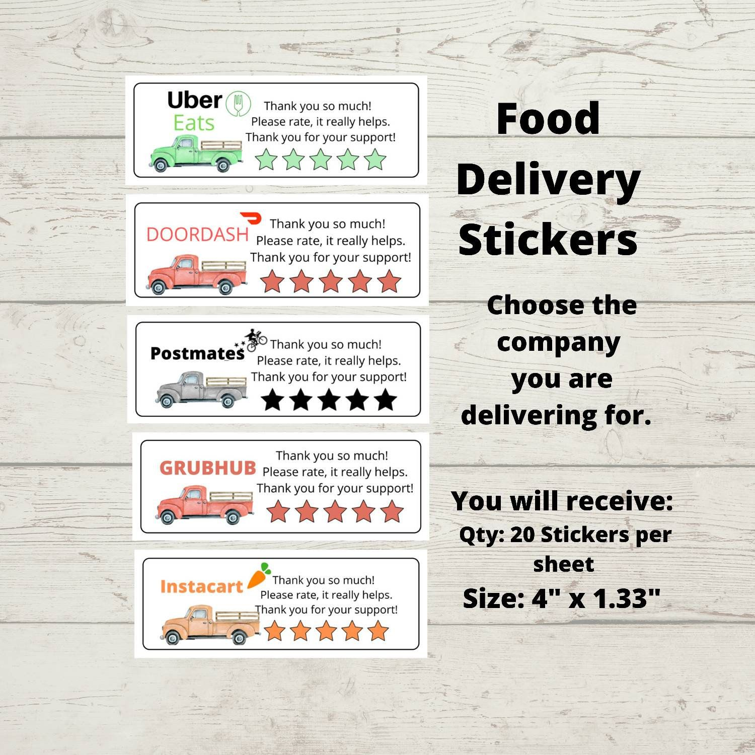 Pin By Amy On Sticker Love Food Delivery Business Stickers Print Thank You Cards