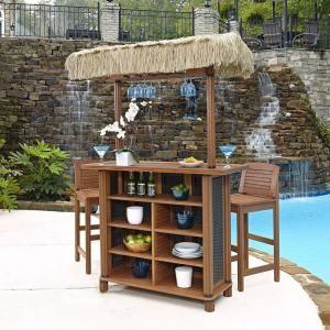 Home Styles Bali Hai Outdoor Patio Tiki Bar And 2 Stools 5662 988 At