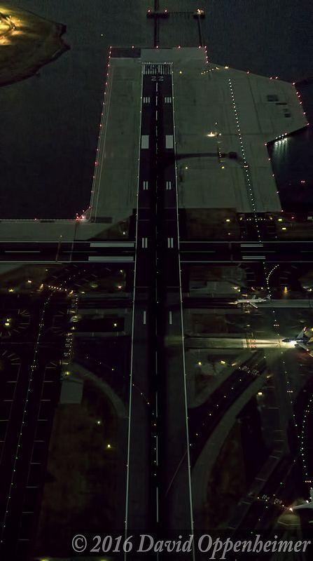 Laguardia Airport Runways Aerial View At Night Aerial View