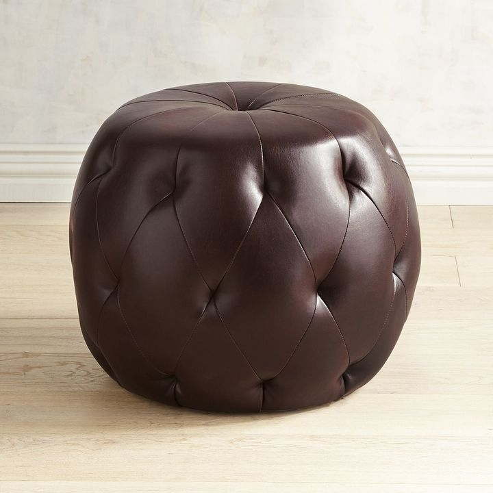 Pier 1 Imports Ormand Brown Tufted Round Ottoman