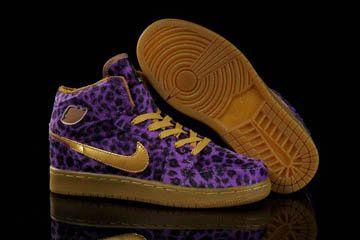 82a67209f32f Michael Air Jordan 1 Phat Leopard Purple Gold Women Shoes For Cheap ...