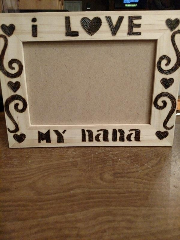 Wooden Rustic Burnt Picture Frame I Love My Nana Wooden Rustic