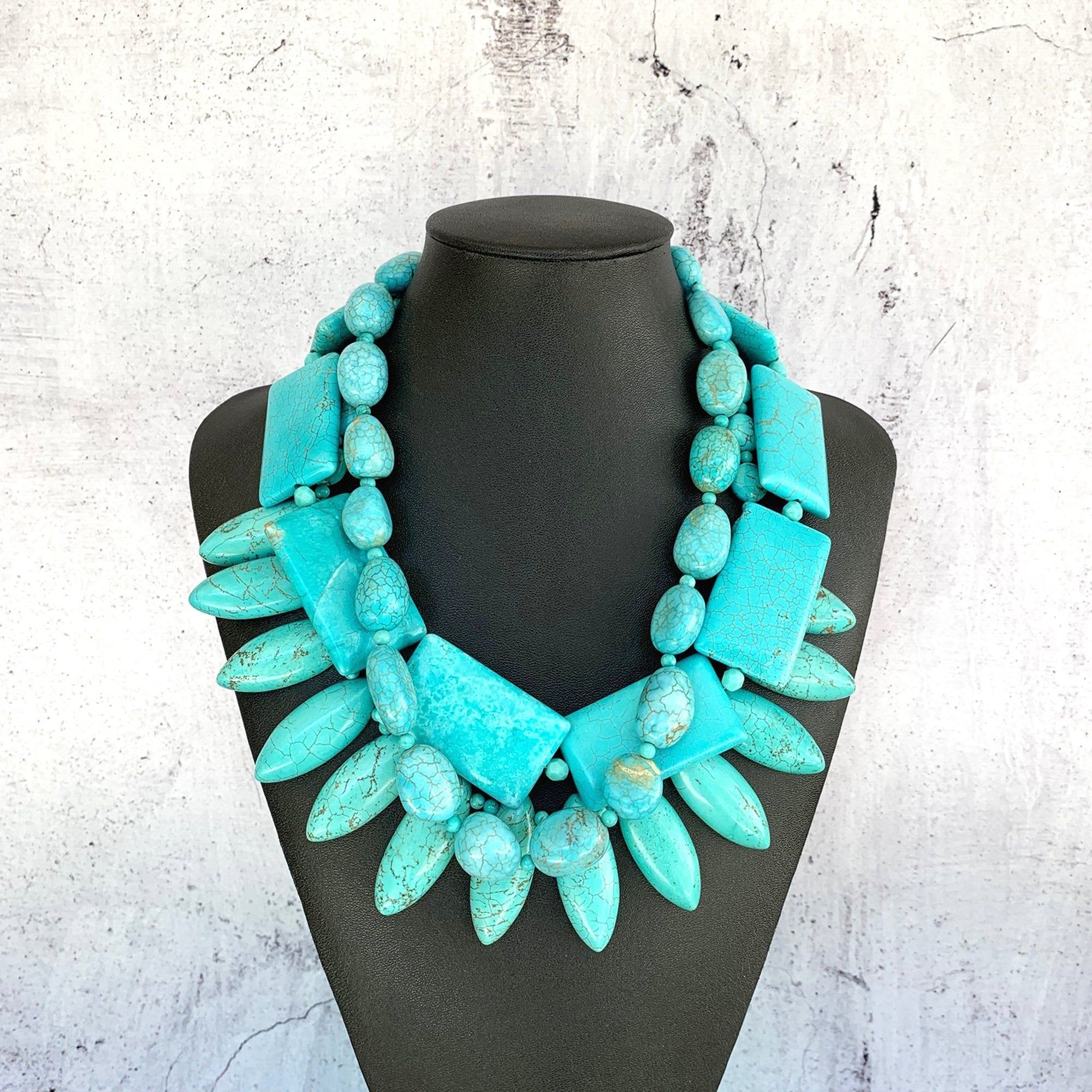 boho necklace statement necklace for women unique statement jewelry Teal Wooden Necklace turquoise necklace big bold chunky necklace