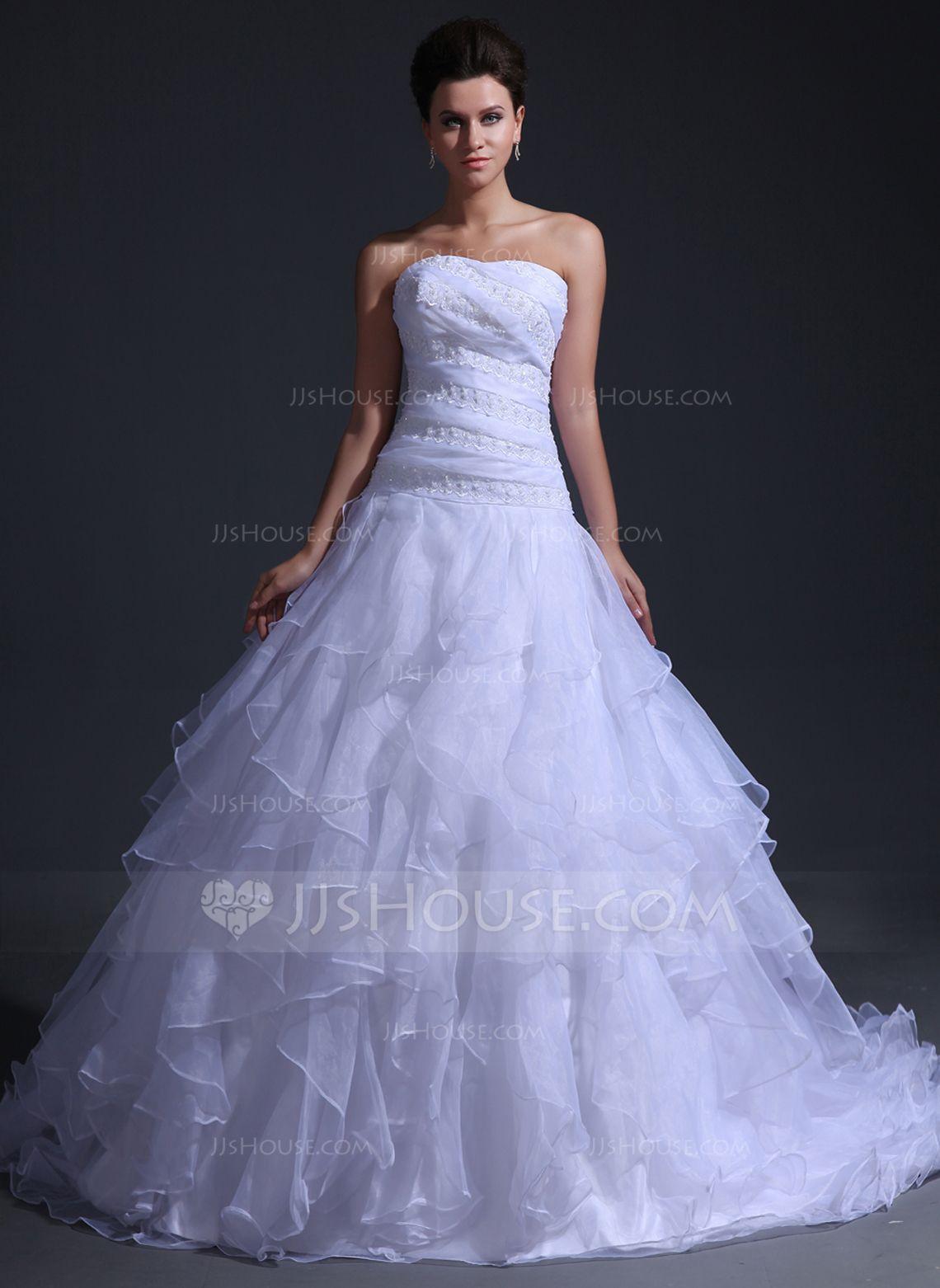 BallGown Sweetheart Cathedral Train Organza Wedding Dress