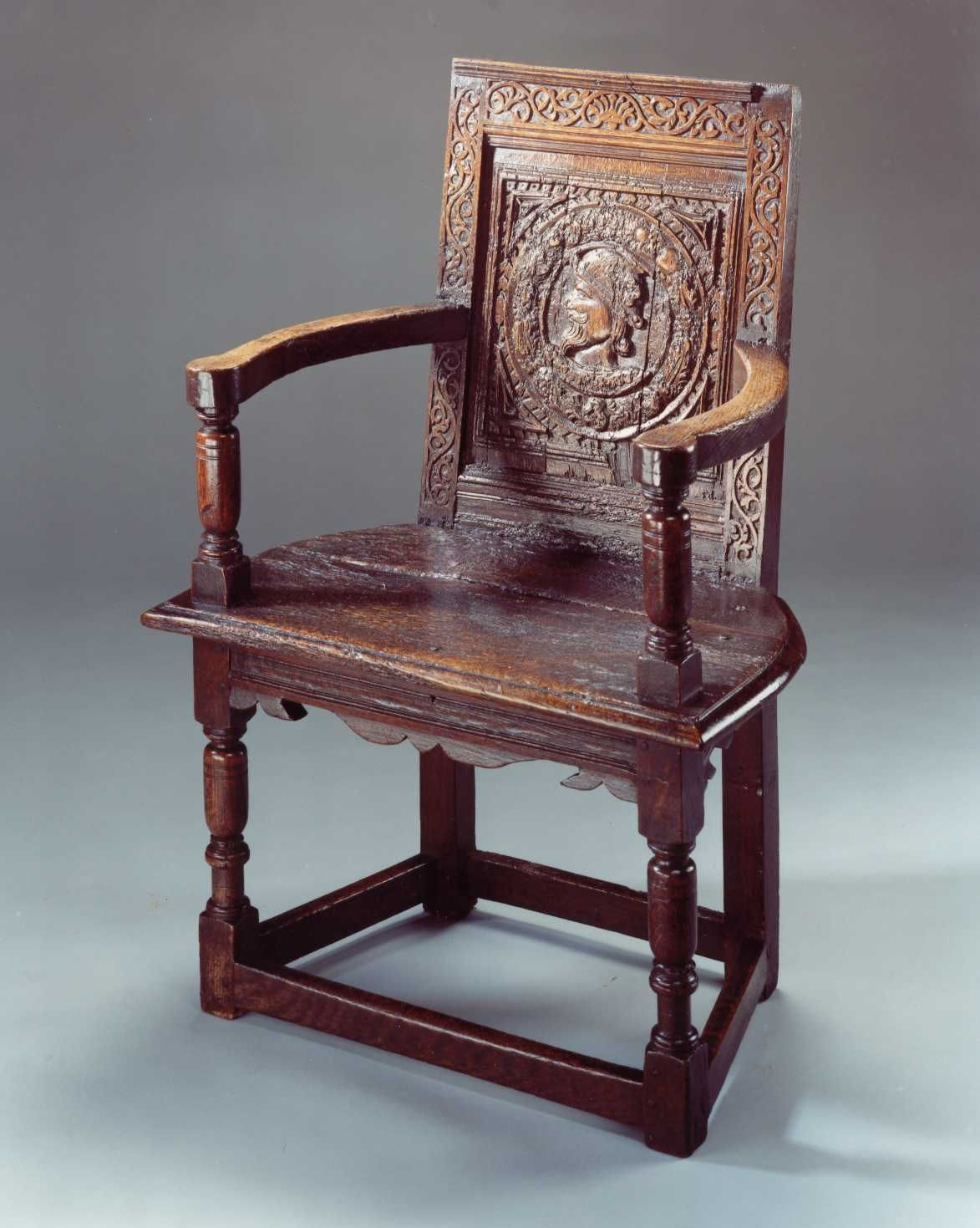 Elizabethan chair with earlier tudor panel grab a seat for Tudor furnishings
