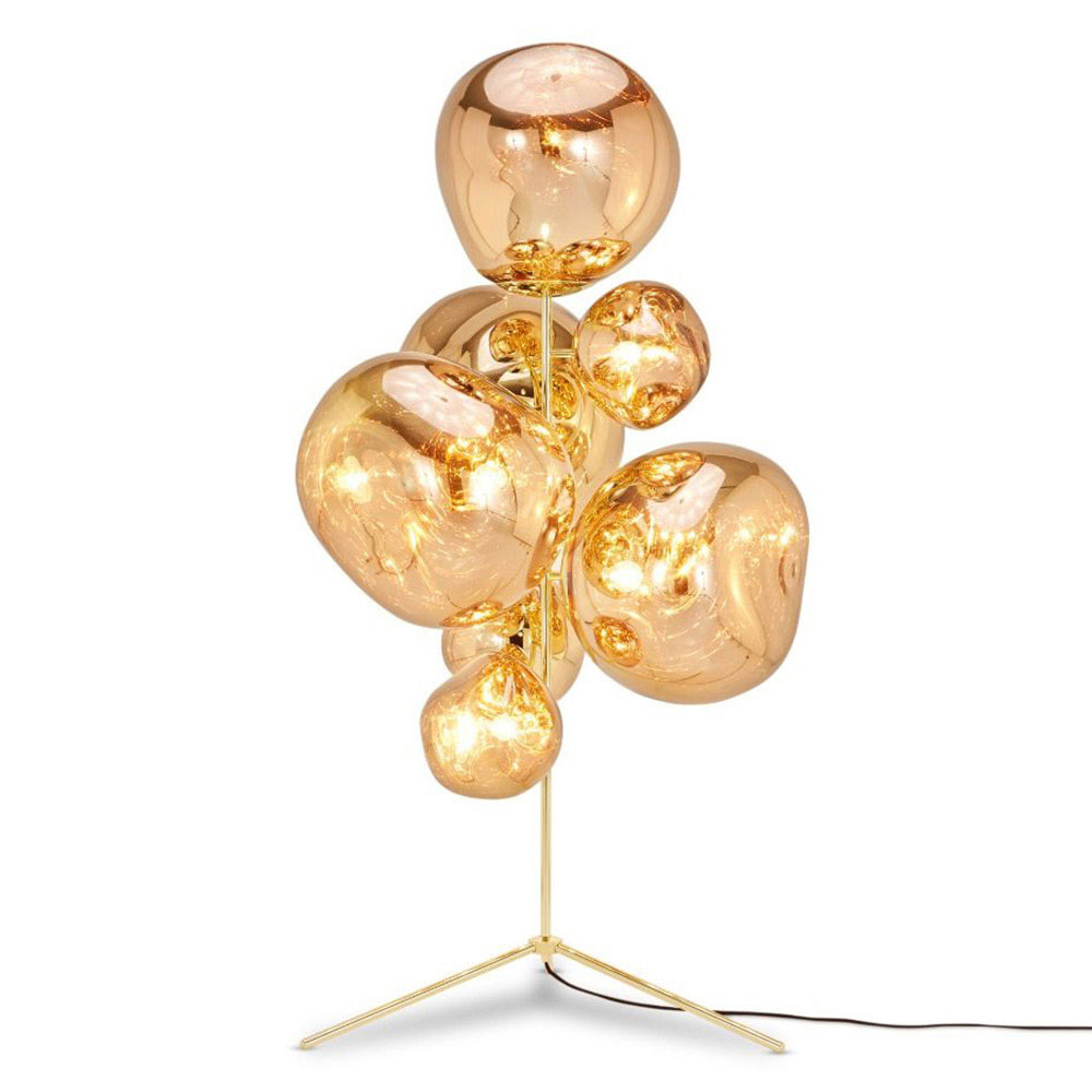 With Melt Our Experiments In The Technologically Advanced Field Of Vacuum Metallization Take On A New Twist Me Chandelier Floor Lamp Floor Lamp Gold Chandelier