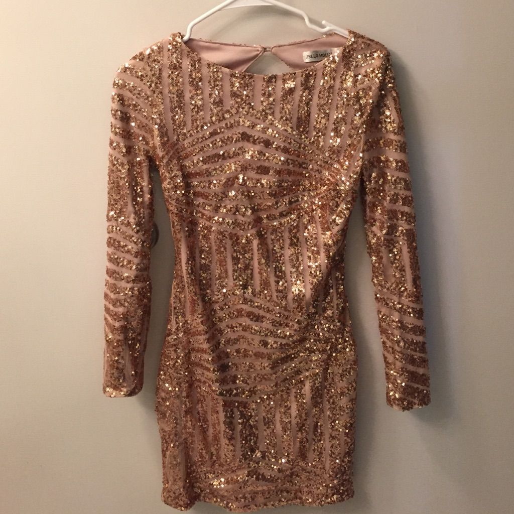 Hello molly gold sequin dressopen back products