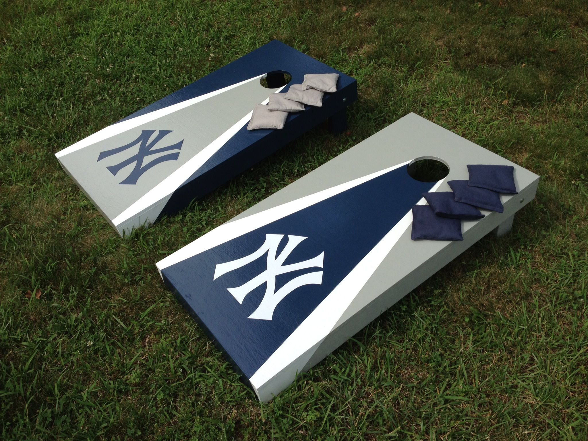 Yankees Cornhole Boards Made By Martys Carolina Cornhole On Facebook Cornhole Designs Cornhole Boards Designs Cornhole Boards