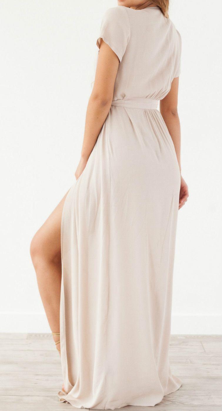 V neck short sleeve high slit solid maxi evening dress with belt