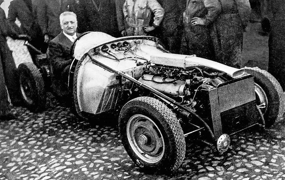 Enzo Ferrari testing the Ferrari 125 S, the first car under his ...
