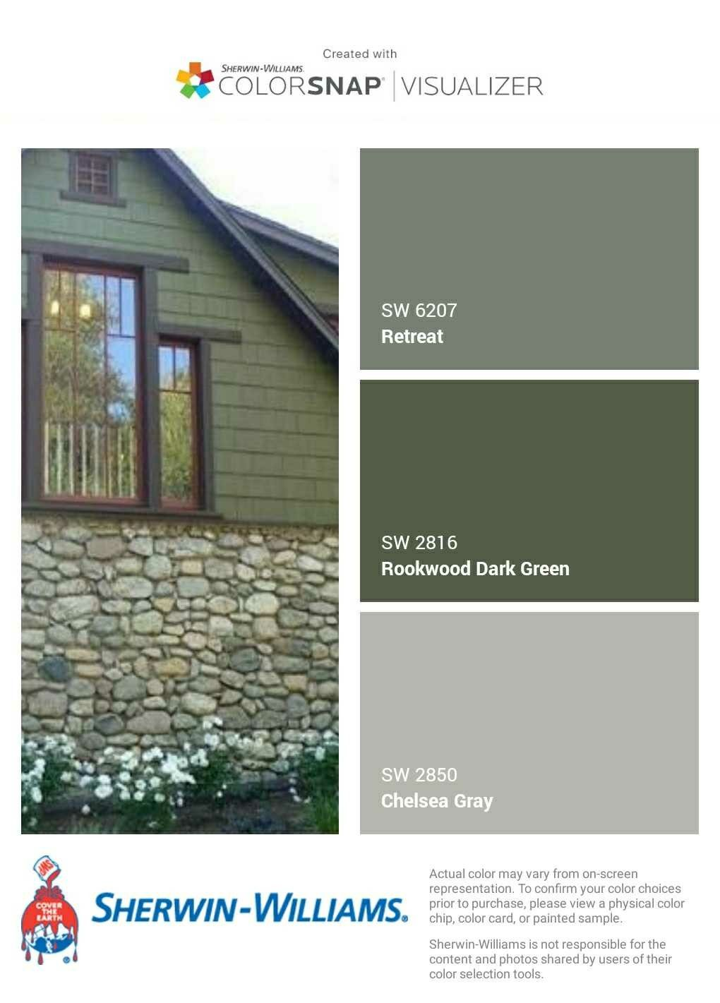 I Just Created This Color Palette With The Sherwin Williams Colorsnap Visuali Exterior Paint Colors For House Green Exterior House Colors House Paint Exterior