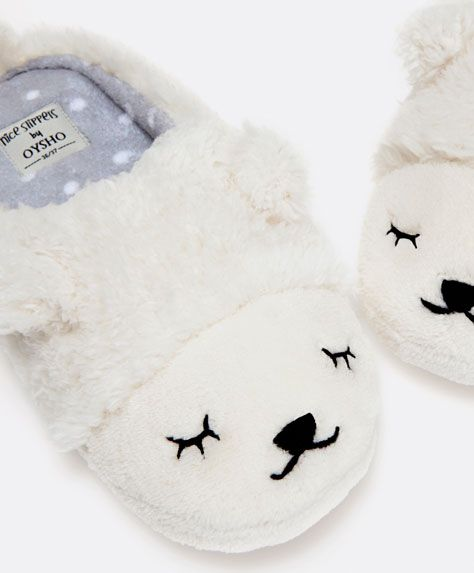Sheep face mule slippers - OYSHO