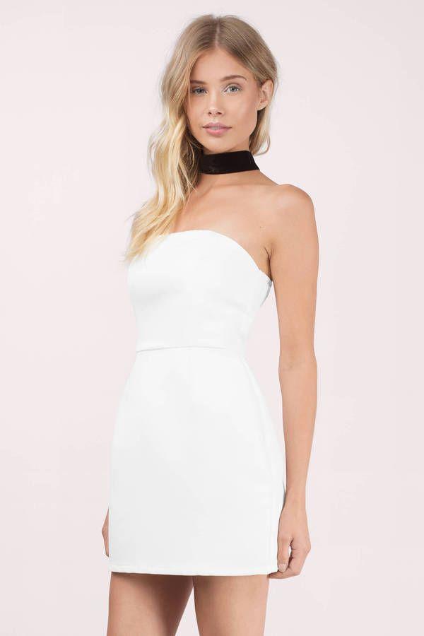 White Bodycon Strapless Dress