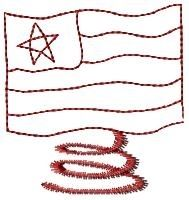 Spiral American Flag Redwork - 4x4 | Primitive | Machine Embroidery Designs | SWAKembroidery.com HeartStrings Embroidery