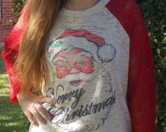 merry christmas tshirt santa t shirt boutique burnout raglan womens jersey rhinestone lace sleeves small