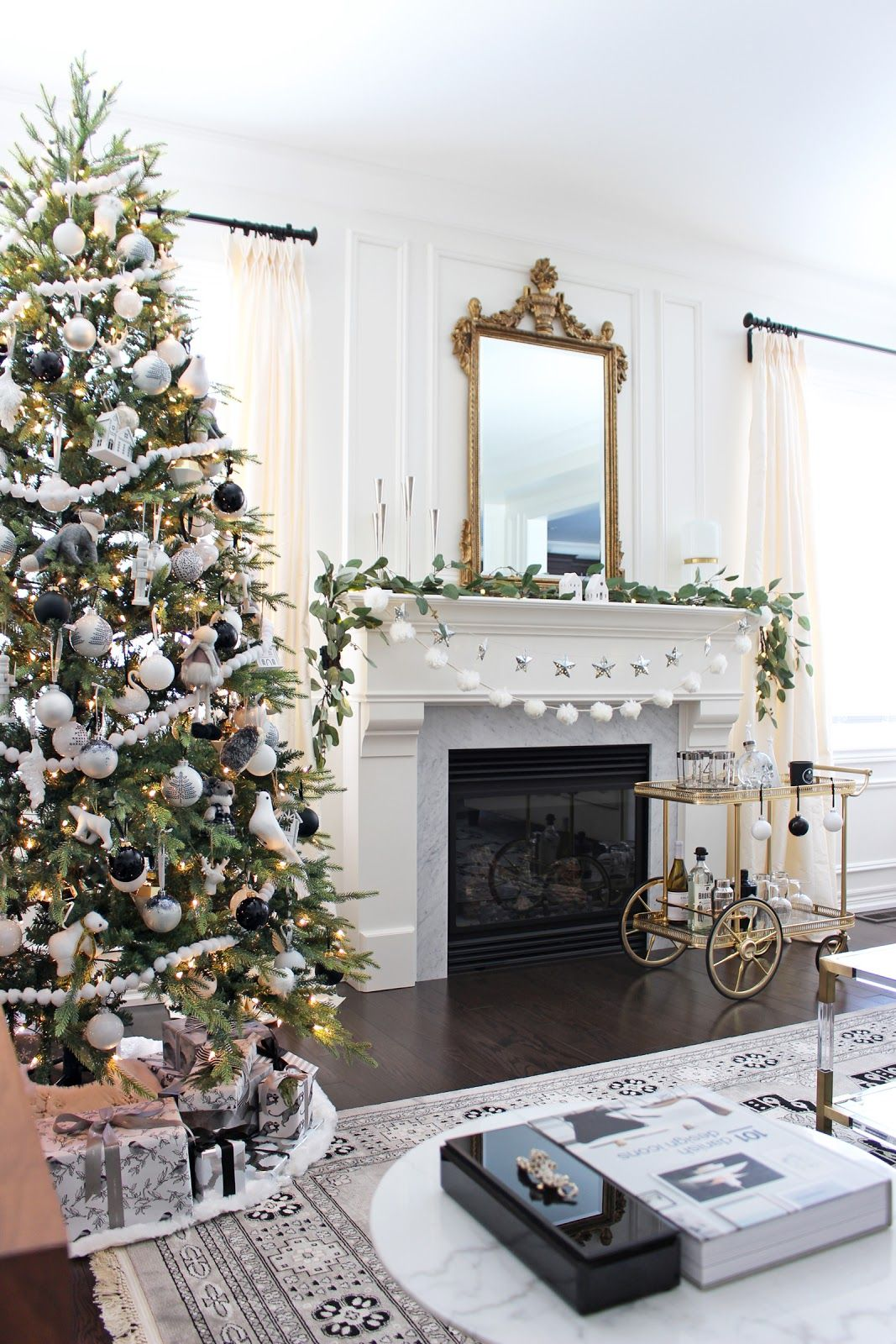 Serge Mouille Floor Lamp Black And White Christmas Decor Black And White Christmas Tree Hygge Chris White Christmas Decor Christmas Mantels Tulip Side Table