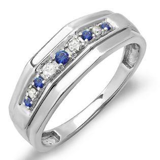 MENS 0.25 Carat (ctw) Sterling Silver Round Blue Sapphire & White Diamond Men's Wedding Anniversary Band 1/4 CT