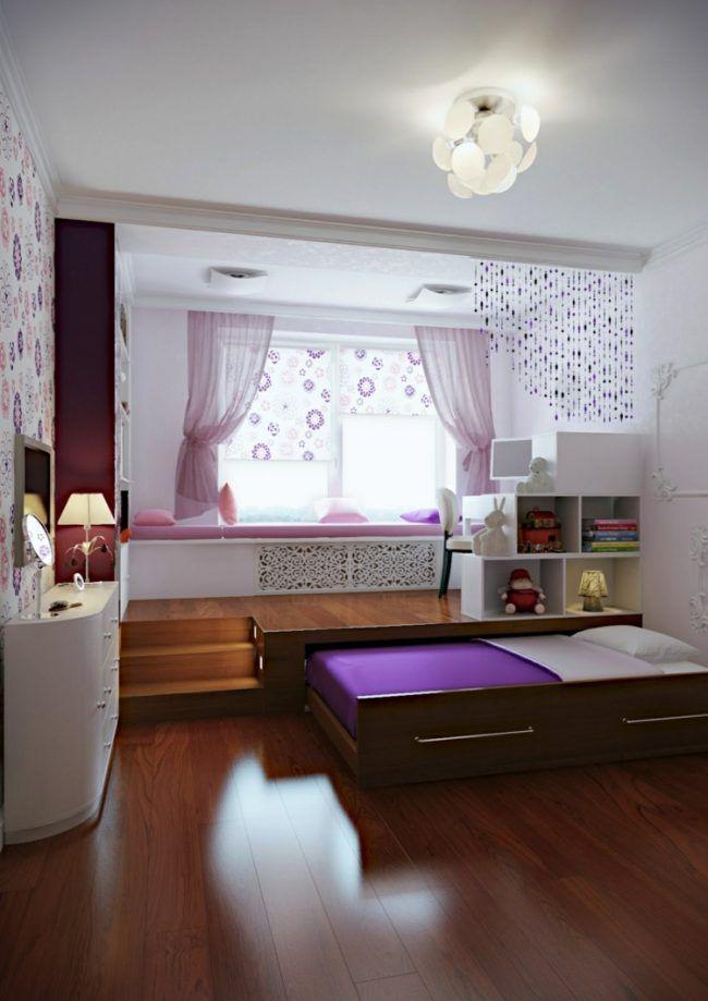 Kleine Kinderzimmer Rollbett Maedchen Gestaltung Podest Schreibtisch Kleines  Kinderzimmer, Schlafzimmer Schrank