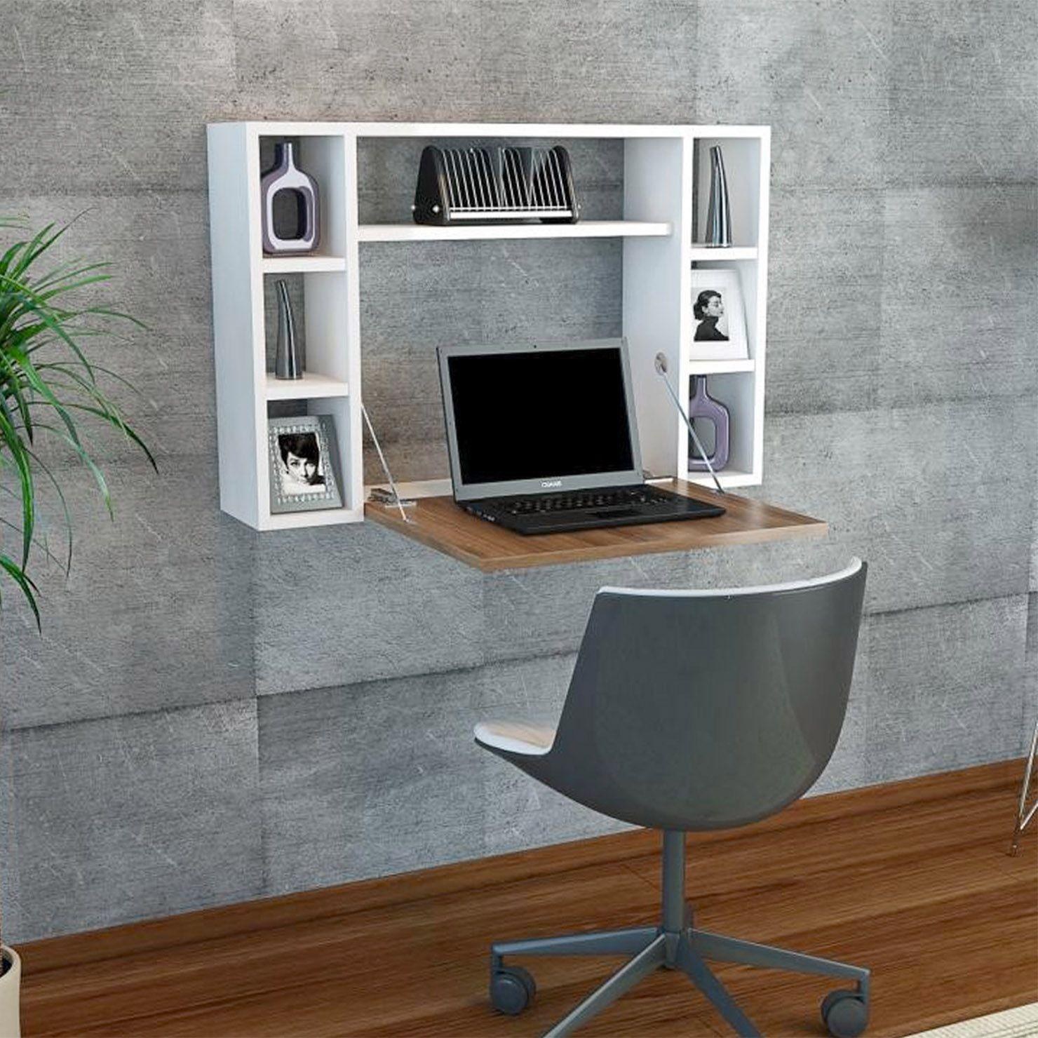 Omega Wall Desk, White/Brown Floating desk