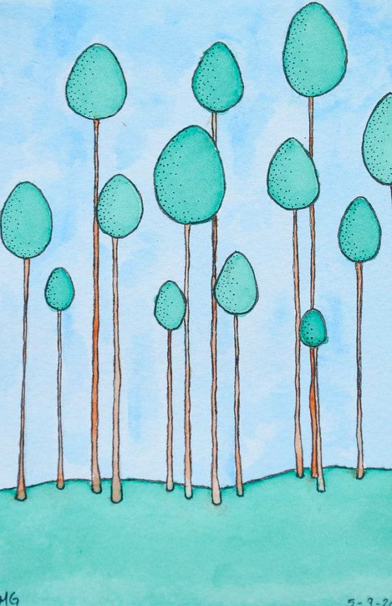 Pom Trees Drawing : trees, drawing, Dreamcatcher, Cursive, Original, Watercolor, Illustration