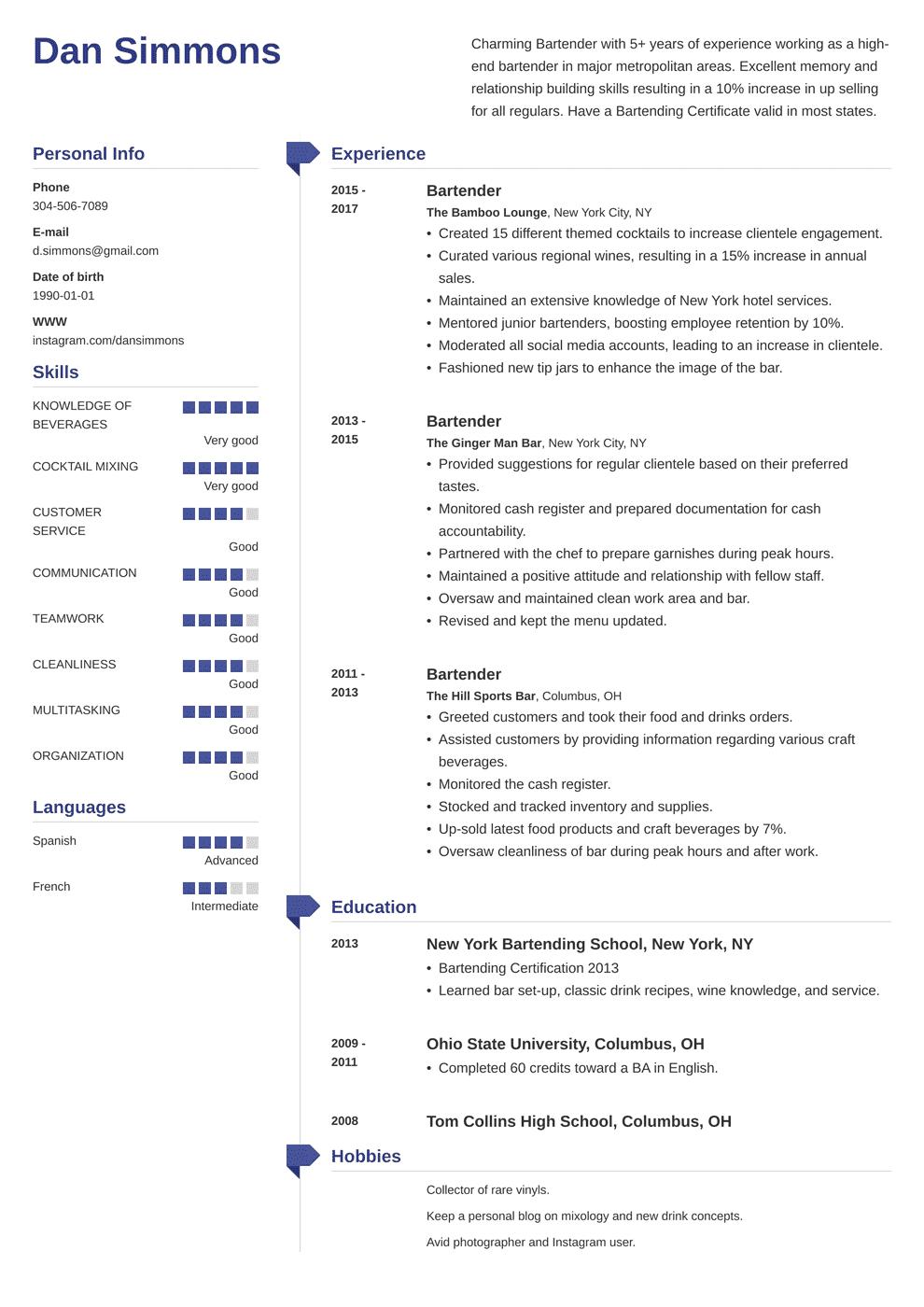 bartender resume template muse in 2020 Job resume