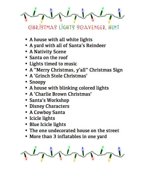 Marvelous Christmas Party Scavenger Hunt Ideas Part - 6: A Christmas Lights Scavenger Hunt - Fun Times -- This List Would Be Fun To  Keep In Car For The Many Spontaneous Drive Through Neighborhoods Looking At  ...
