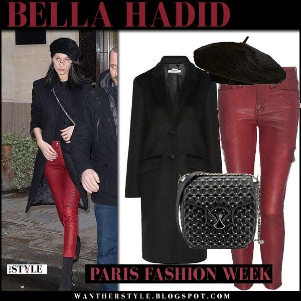 Bella Hadid In Black Coat, Red Leather Pants With Black
