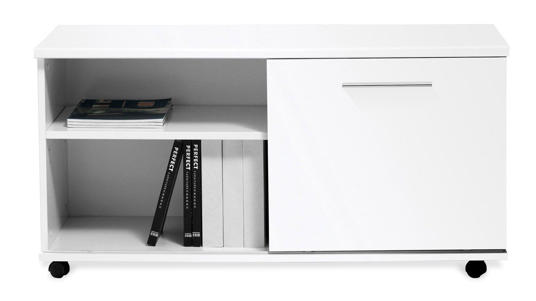 Amazon Com White Lacquer Delano Side File Cabinet Office Products Modern Shelving Office Shelving Side Cabinet