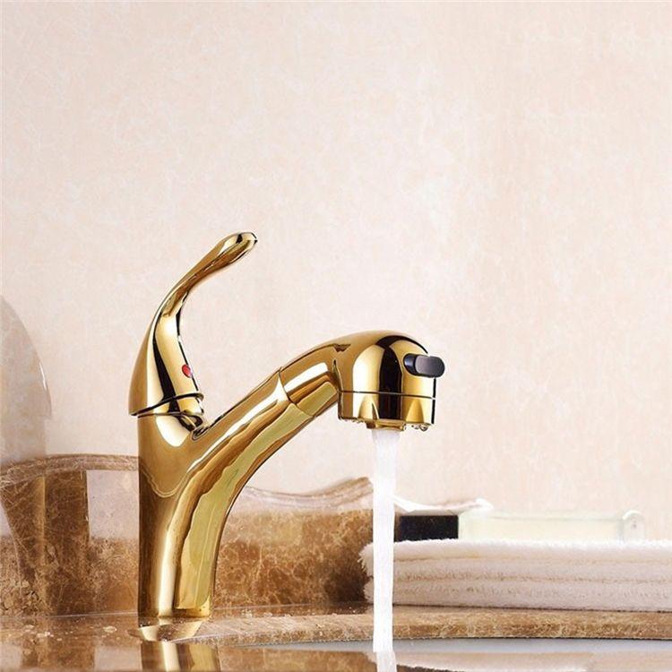 洗面蛇口 スプレー混合栓 洗髪用水栓 ホース引出式 水道蛇口 整流 シャワー吐水式 金色 Kitchen Taps Basin Faucet