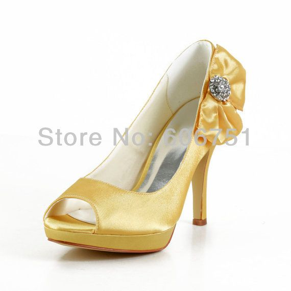 Gold Bow Tie Satin High Heel Platform Peep Toe Bride Wedding Shoes For Women Prom Pumps Custom