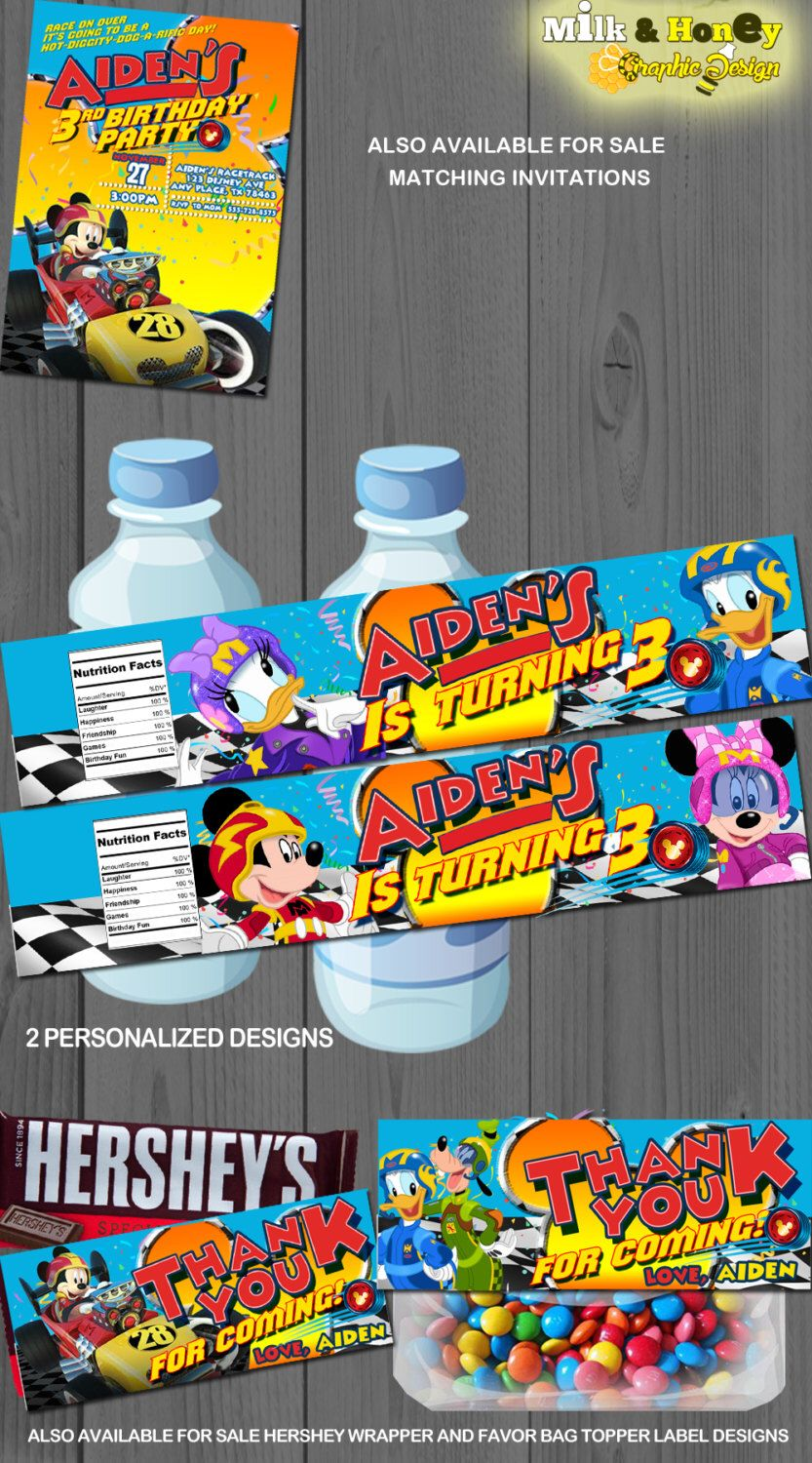 Mickey And The Roadster Racers Disney Personalized Water Bottle