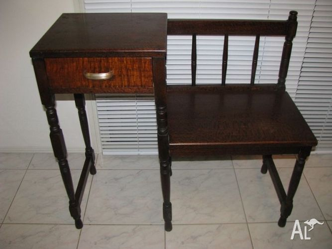 Vintage Telephone Tables   ANTIQUE 1930s TELEPHONE TABLE With SEATu0026 DRAWER  SILKY OAK DISPLAY In .