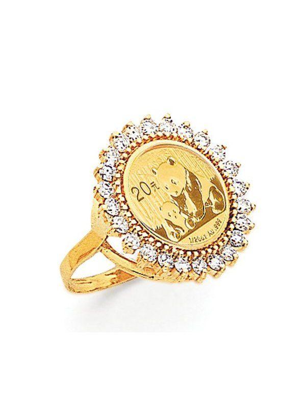 14k Diamond Panda Coin Ring Jewelry Rings Custom Earrings Coin Ring Jewelry Trends