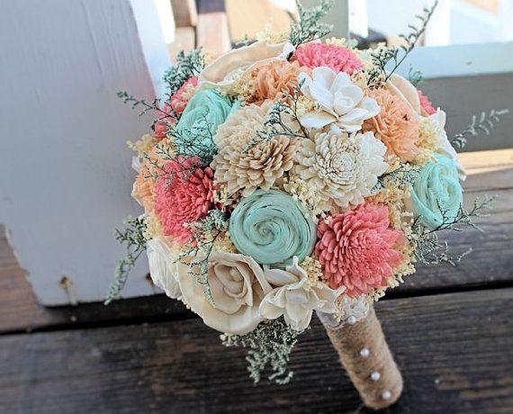 11e1e9afbbf6f Handmade Wedding Bouquet- Mint Coral Peach Bridal Bouquet ...