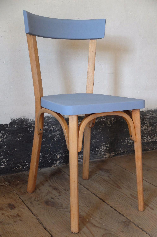 Bleuette chaise bistrot baumann relook e r nov e la main assise et dossier repeints - Photos de meubles repeints ...
