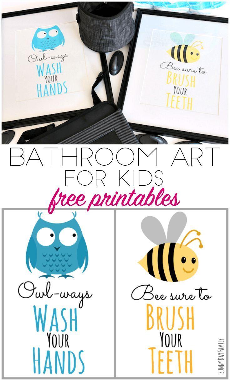 Free Printable Bathroom Art For Kids And Organizing Tips Too Bathroom Kids Kids Bathroom Sign Printable Bathroom Signs