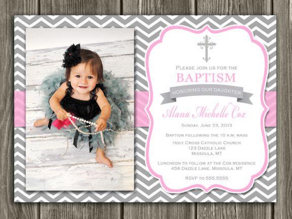 Baptism Invitation Gray and Pink Chevron Girl Thank You