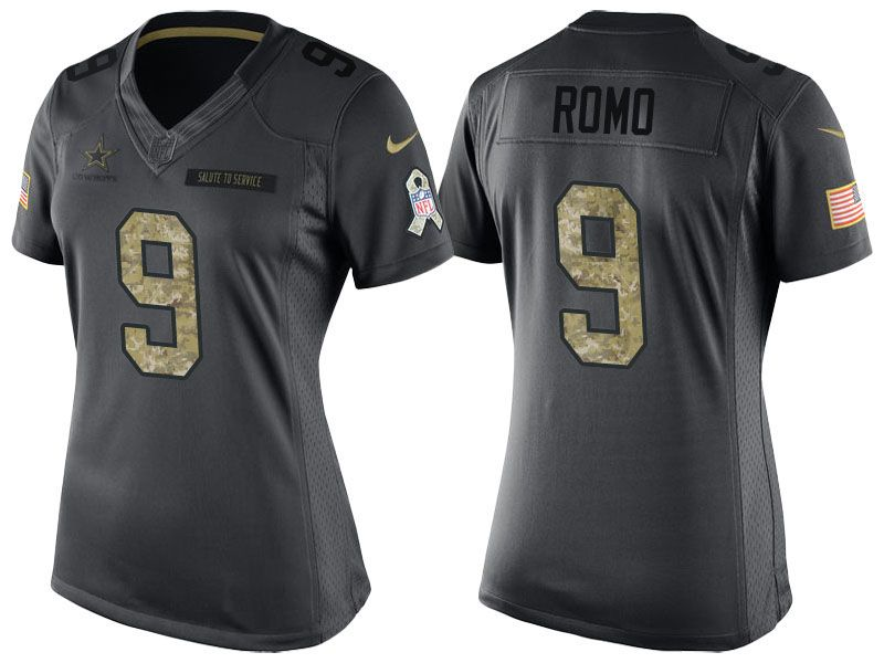Women's Dallas Cowboys #9 Tony Romo Camo Anthracite 2016 Salute to Service Limited Jersey