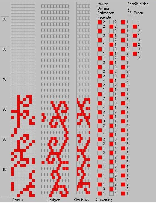 Schlauchketten Häkeln Musterbibliothek Schnoerkel Perlen