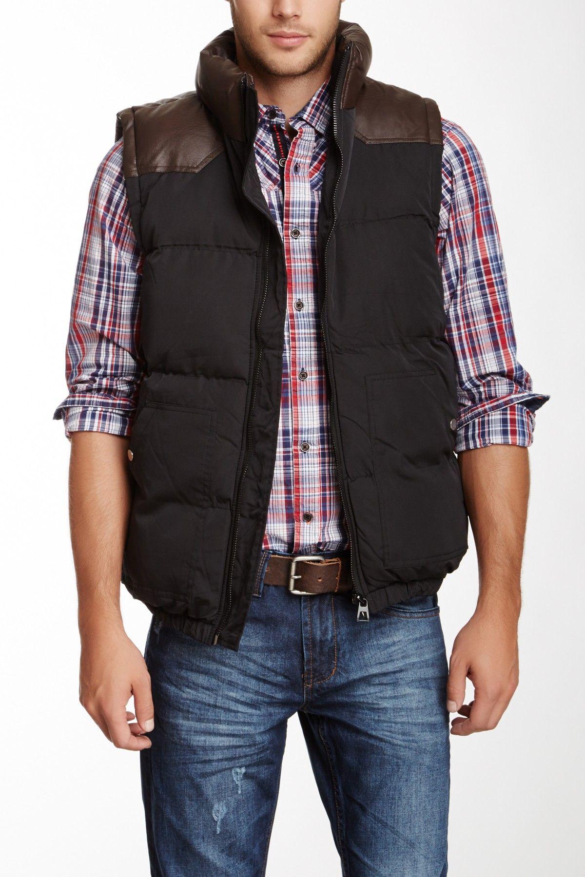 Faux Leather Shoulder Puffer Vest on HauteLook Stylish