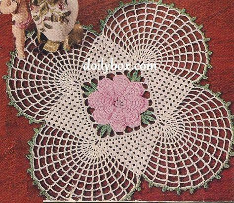 Free Crochet Square Rose Doily Pattern Pinterest