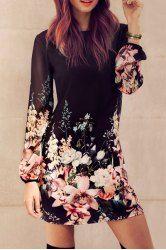 Elegante Rodada Collar manga comprida vestido de chiffon floral para mulheres
