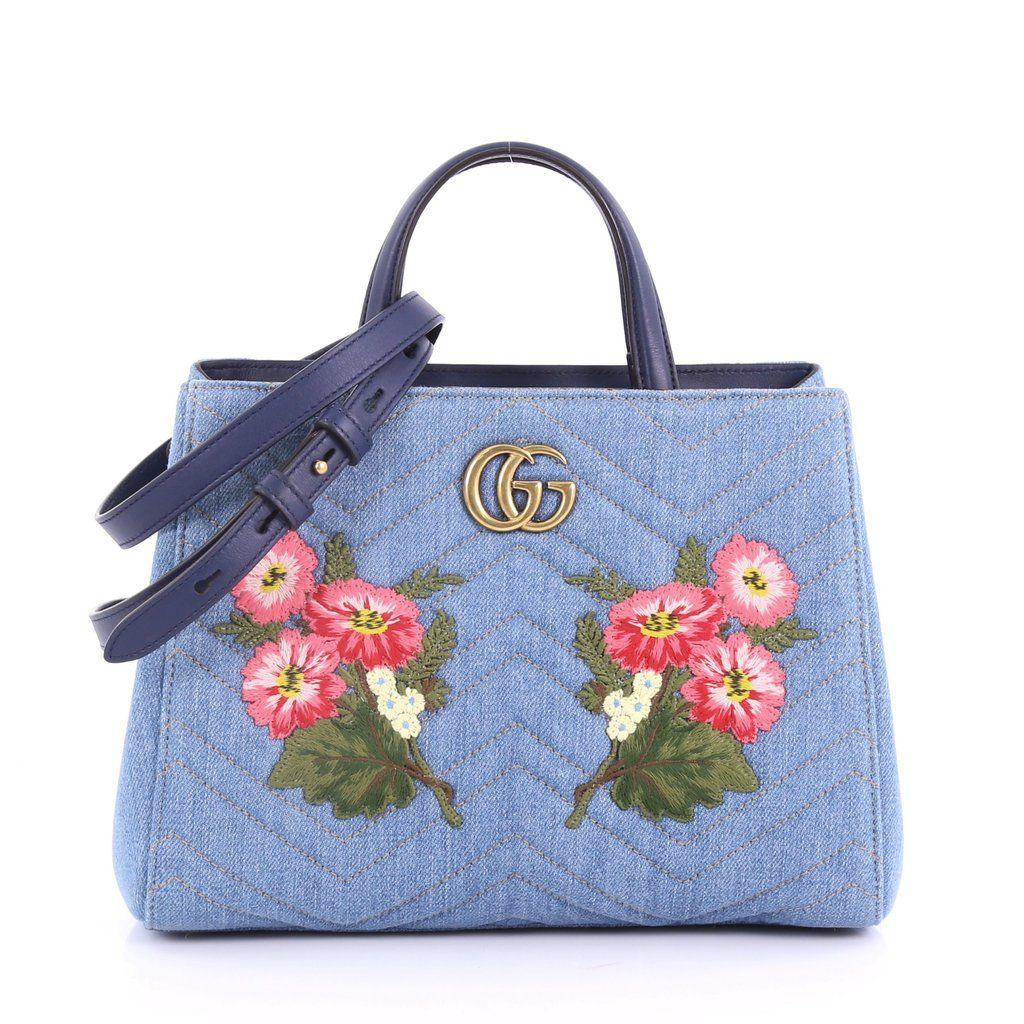 36ff76c3443fcd Gucci GG Marmont Tote Embroidered Matelasse Denim Small 3596210 – Rebag