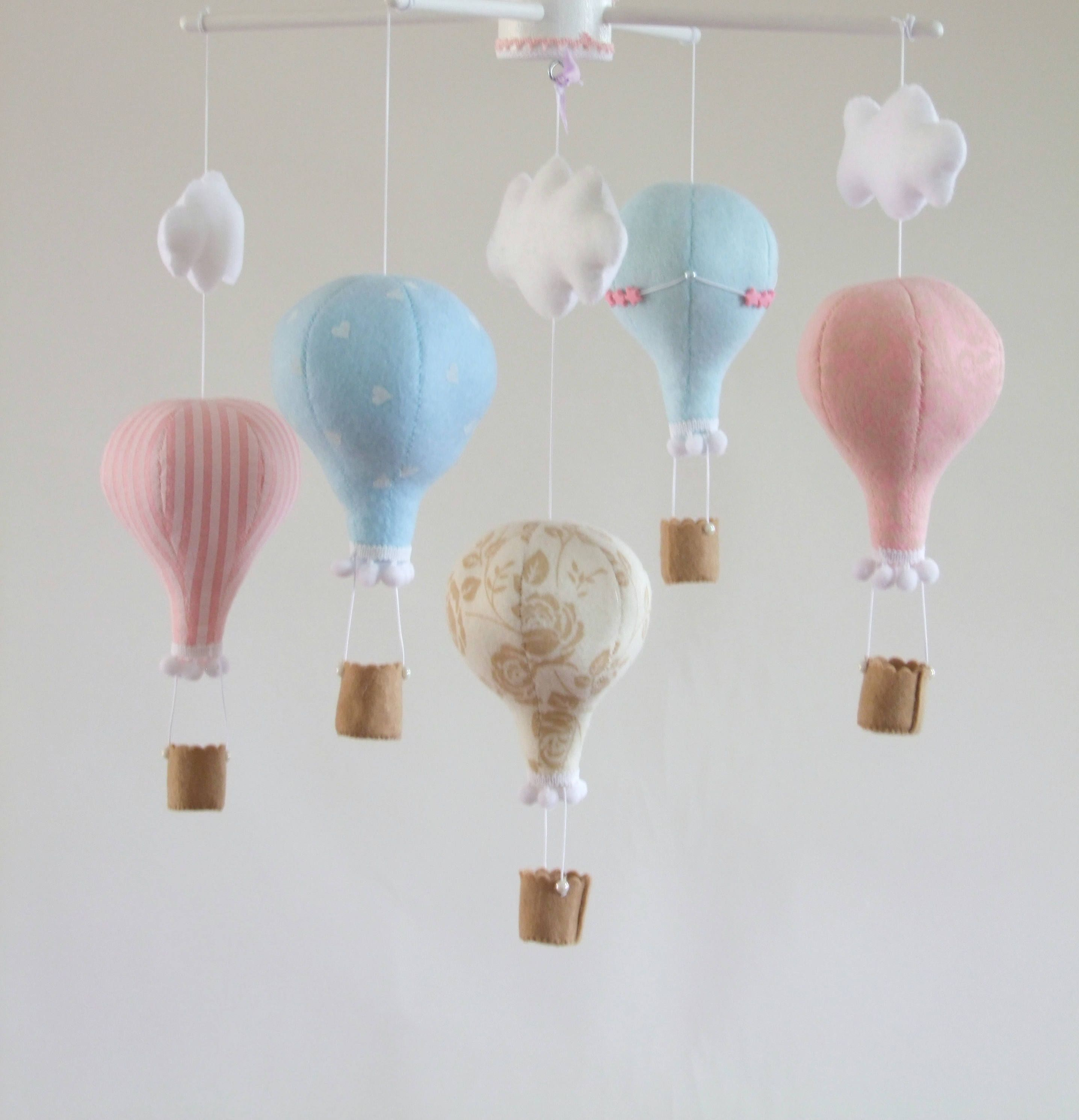 Hot air balloon Baby mobile Up up and away Nursery decor Travel