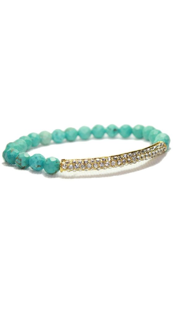 Turquoise Crystal Bar Bracelet by Devoted
