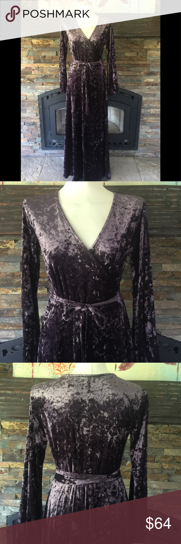 1bb1e9c7adf Gianni Bini Rotar Maxi Dress crushed velvet Gorgeous maxi dress from Gianni  Bini! Women s small True wrap style Color is a bronzey-plum shade New with  tags ...